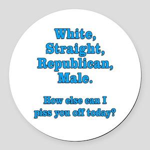 White Straight Republican Male Round Car Magnet