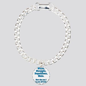 White Straight Republica Charm Bracelet, One Charm