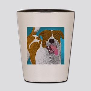 Happy Mutt Pup Art Shot Glass