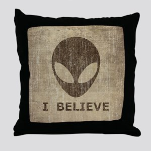 Vintage Alien Throw Pillow