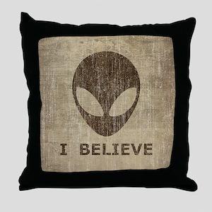 Vintage Alien Throw Pillow