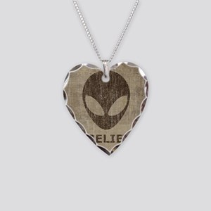 Vintage Alien Necklace Heart Charm