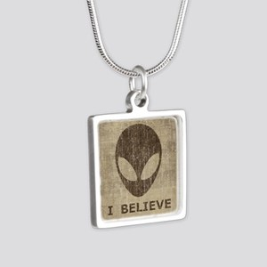 Vintage Alien Silver Square Necklace