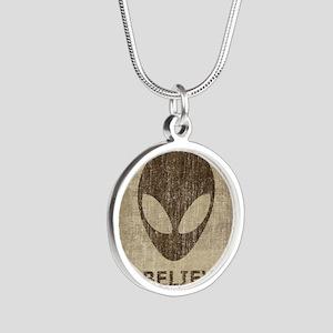 Vintage Alien Silver Round Necklace