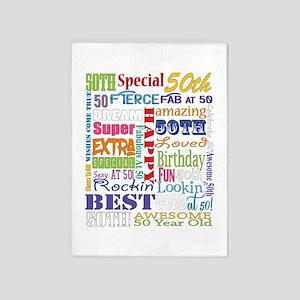 50th Birthday Typography 5'x7'Area Rug