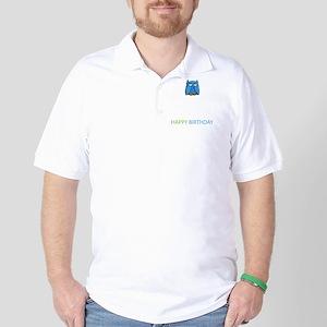 Aqua Owl Birthday Card Inside Golf Shirt
