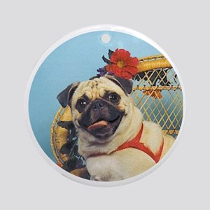 Pug in Wicker Chair Round Ornament