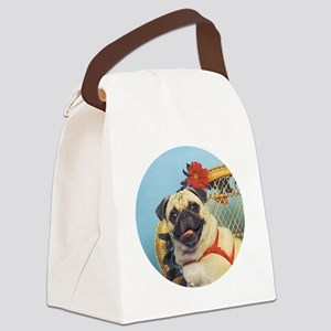 Pug in Wicker Chair Canvas Lunch Bag