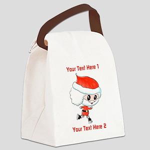 Santa on Ice Skates Canvas Lunch Bag