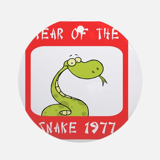 Year of The Snake 1977 Round Ornament