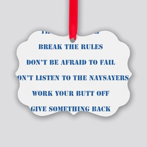 The Six Rules Of Life Picture Ornament