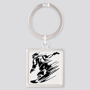 Snowboarding1 Square Keychain