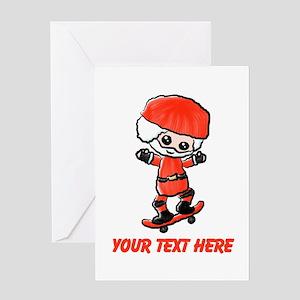 Skating Santa Greeting Cards