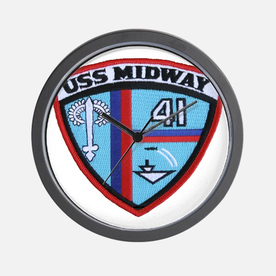 uss midway patch transparent Wall Clock