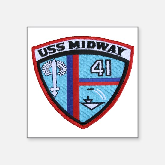 "uss midway patch transparen Square Sticker 3"" x 3"""
