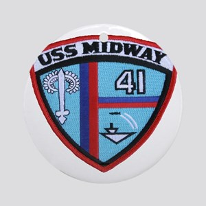 uss midway patch transparent Round Ornament