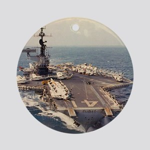 uss midway cva framed panel print Round Ornament