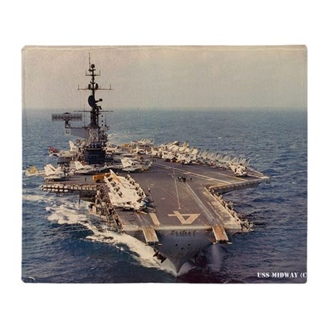 uss midway cv large framed print Throw Blanket