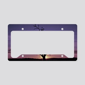 Purple Sunset Silhouette License Plate Holder
