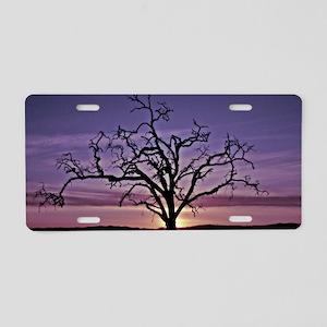 Purple Sunset Silhouette Aluminum License Plate