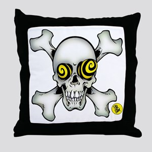 skully and crossbones large Throw Pillow
