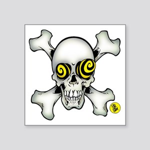 """skully and crossbones large Square Sticker 3"""" x 3"""""""
