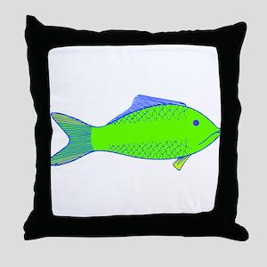 Green Fish Throw Pillow