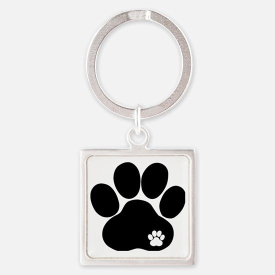 Double Paw Square Keychain