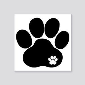 "Double Paw Square Sticker 3"" x 3"""