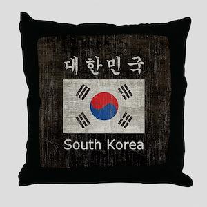 Vintage South Korea Throw Pillow