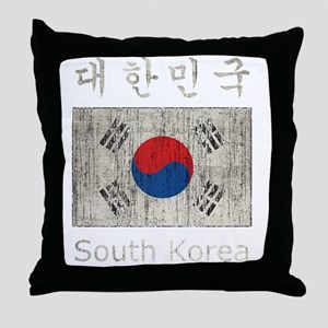 Vintage South Korea Throw Pillow