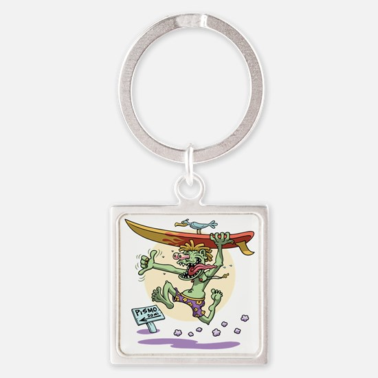 surf-monster-T Square Keychain