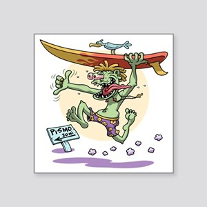 "surf-monster-T Square Sticker 3"" x 3"""