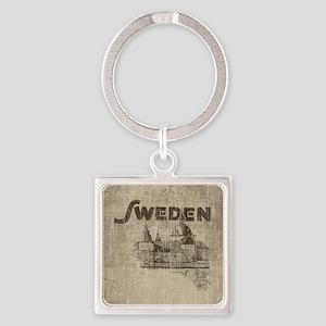 Vintage Sweden Square Keychain