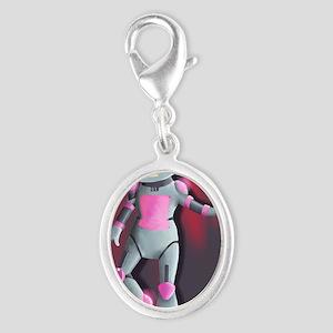 RoboGirl Silver Oval Charm