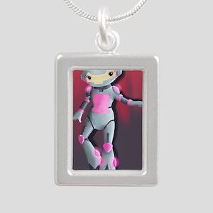 RoboGirl Silver Portrait Necklace