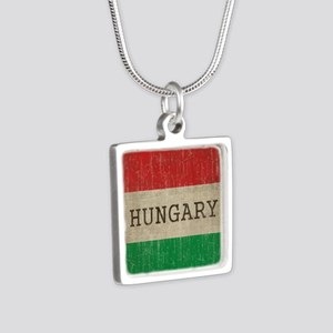 Vintage Hungary Silver Square Necklace