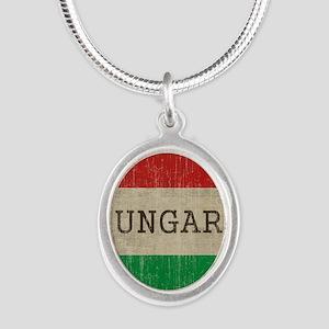 Vintage Hungary Silver Oval Necklace