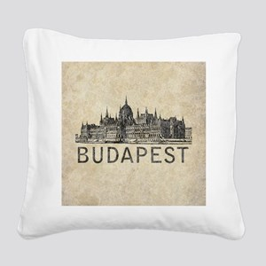 Vintage Budapest Square Canvas Pillow