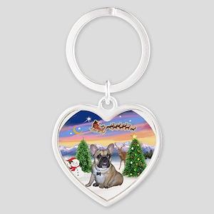Take Off - French Bulldog Puppy Heart Keychain