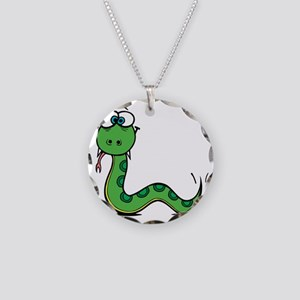 Funny Year of Snake Necklace Circle Charm