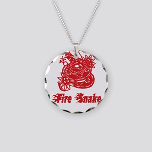 Year of Fire Snake Necklace Circle Charm