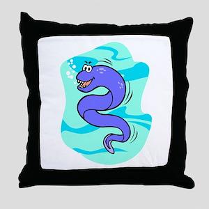 Eel Cartoon Throw Pillow