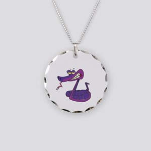Funny Year of The Snake Necklace Circle Charm