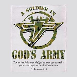 A Soldier in God's Army Throw Blanket