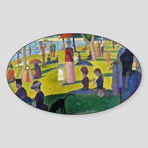 Pic Seurat Jatte Sticker (Oval)