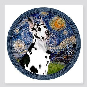"Starry Night - Harlequii Square Car Magnet 3"" x 3"""