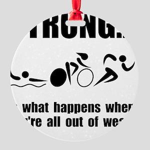 Triathlon Strong Round Ornament