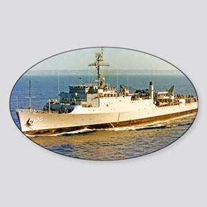 uss monticello large framed print Sticker (Oval)