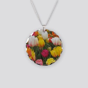 Spring Tulip Field Necklace Circle Charm